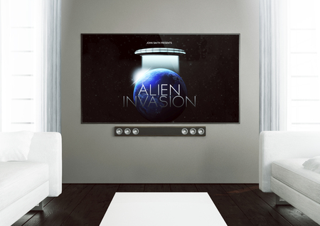 3d rendering of television with movie on screen on a wooden living room