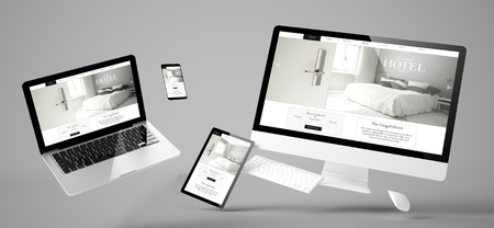 flying devices with grand hotel website responsive design 3d rendering Stock Photo
