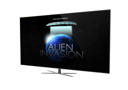 render of a modern television with sci-fi movie. 3d rendering.