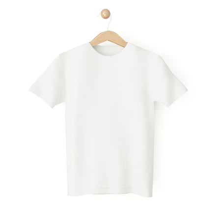 hanging white t-shirt 3d rendering isolated Banco de Imagens