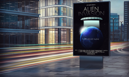 Movie poster billboard in city night 3d rendering