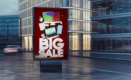 street technology advertising billboard on the street 3d rendering Stock Photo
