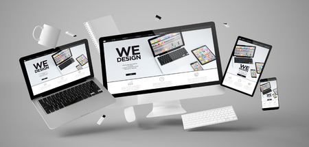 office stuff and devices floating with design website 3d rendering Stok Fotoğraf
