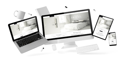 office stuff and devices floating withgrand hotel website 3d rendering