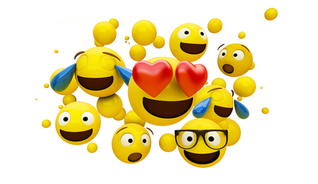 group of emoticons isolated on white background 3d rendering 写真素材