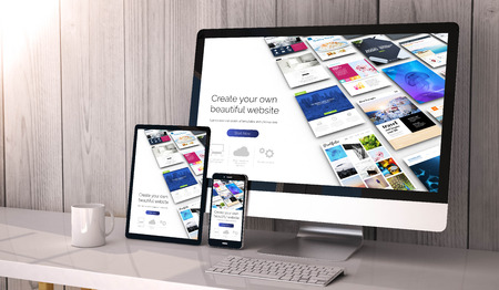 Digital generated devices on desktop, website builder on screen. All screen graphics are made up. 3d rendering. Фото со стока