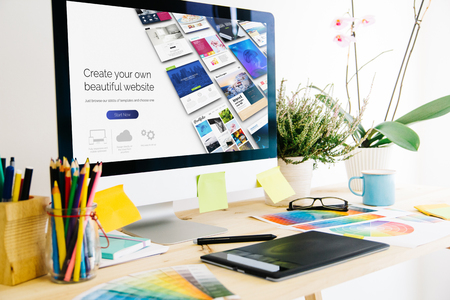 Graphic design studio website builder Stockfoto