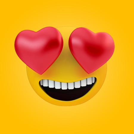 emoji love icon 3d rendering