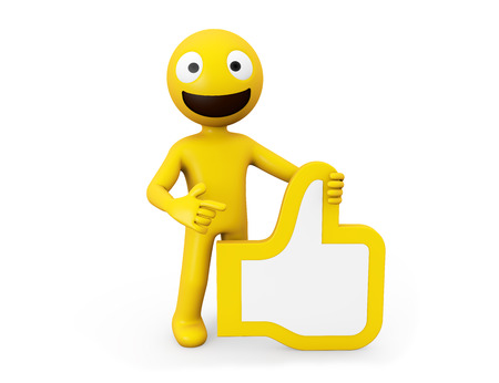 3d rendering yellow character with ok hand icon Stock Photo