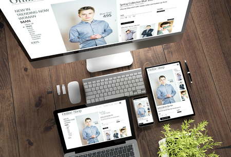 3d rendering top view of devices with online shop on screen on wooden desktop Stock Photo