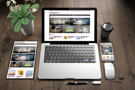 3d rendering of devices on wooden floor showing e-magazine responsive website Foto de archivo