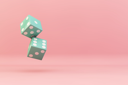 dices falling on a 3d rendering concept illustration