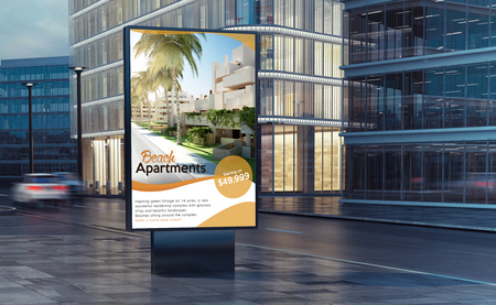 real estate billboard on the street 3d rendering