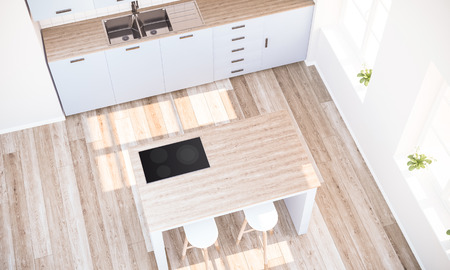 top view ot kitchen island 3d rendering