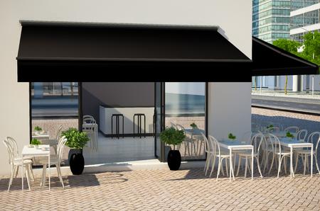 3D-Darstellung der Caféfassade mit Anzeigen und Markise Standard-Bild