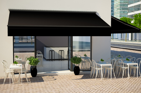 3d rendering of cafe facade with displays and awning