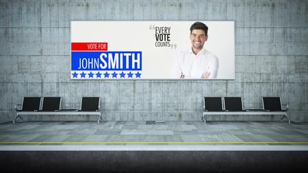 horizontal political advertising mockup on underground station 3d rendering