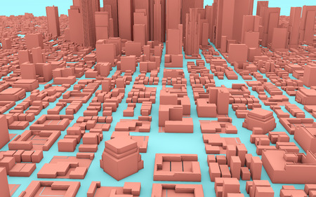 blue and pink city 3d rendering