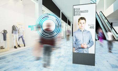 Anuncio digital en maqueta de centro comercial renderizado 3d Foto de archivo