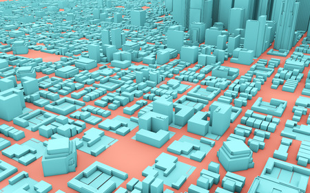 blue and pink 3d rendering city Banco de Imagens