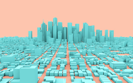 3d rendering  city panorama isolated on pink