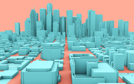 pink and blue 3d rendering city