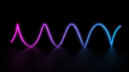 3d rendering of glowing laser neon light lines spiral