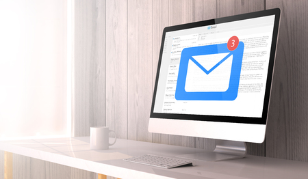 3d rendering of workspace.Mail notification on computer. Фото со стока