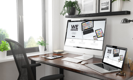 black and white home office with responsive devices builder website3d rendering Stock Photo - 113163566