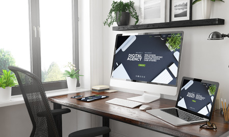 black and white home office with responsive digital agency website3d rendering Stock Photo