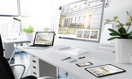 office responsive devices interior design 3d rendering Stock Illustration - 117719062