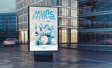 Music festival poster billboard on the street 3d rendering Reklamní fotografie