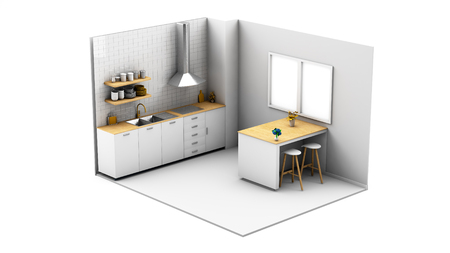 Kitchen  isolated 3d rendering Stockfoto