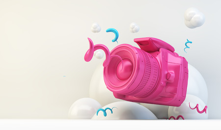 Pink camera on white 3d rendering