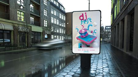 Dj festival advertising billboard on city street at evening 3d rendering
