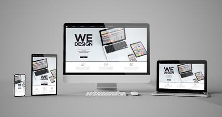 Responsive devices design isolated mockup 3d rendering Banco de Imagens