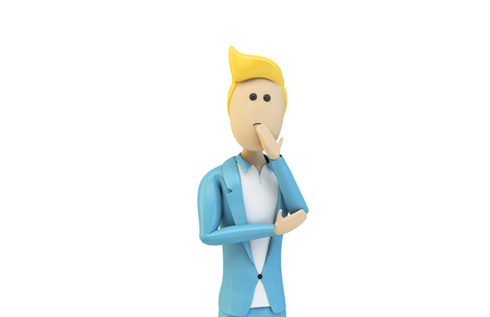 Male cartoon businessman thinking isolated 3d rendering Stockfoto