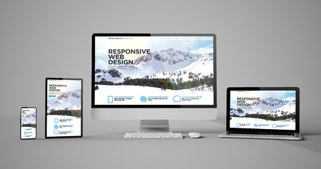 Responsive devices responsive web design mountain isolated mockup 3d rendering