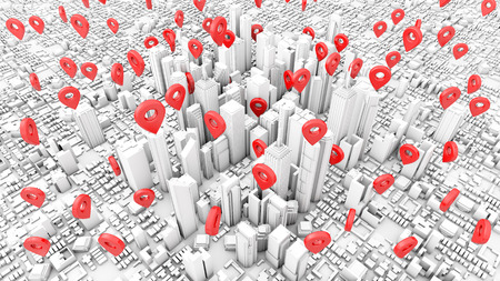 Pinpoints at business town 3d rendering Stock Photo