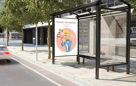 Bus stop mobile data plan advertisement billboard 3d rendering