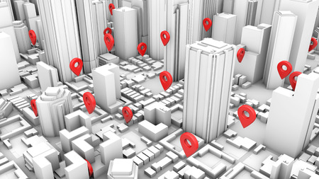 White city geo location concept 3d rendering Stock Photo