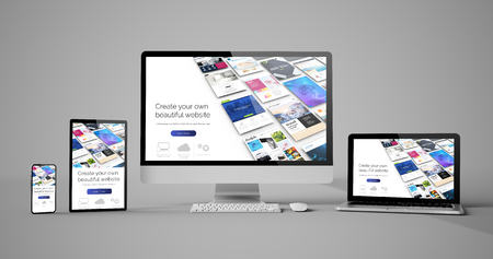Responsive devices website builder isolated mockup 3d rendering