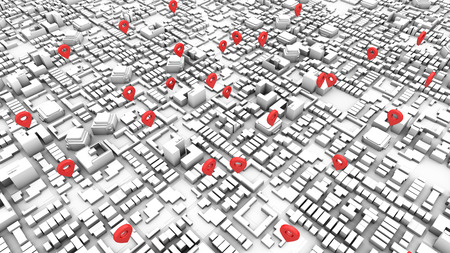 3d rendering city map with pinpoints