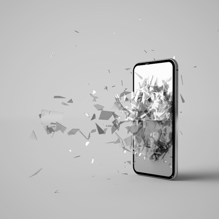 3D-Rendering eines kaputten Telefons