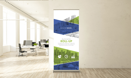 Awesome design roll up banner in minimal office 3d rendering