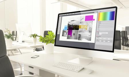 Graphic design screen mockup computer in loft office 3d rendering