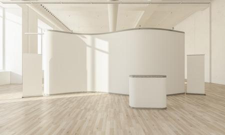 Stand d'exposition blanc sur maquette intérieure de rendu 3d Banque d'images