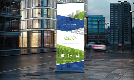 3d rendering of roller mockup with awesome design in the street