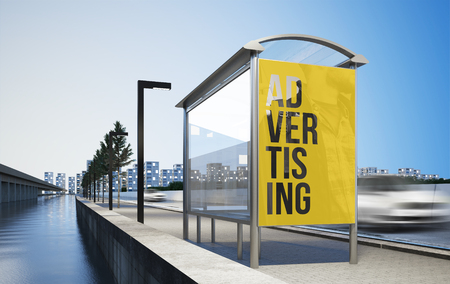 Billboard advertising poster on bus stop 3d rendering mockup