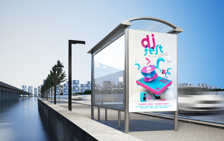 Billboard advertising party on bus stop 3d rendering mockup Banco de Imagens - 122317331